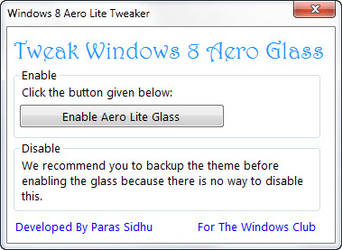Windows 8 Aero Lite Tweaker by parassidhu