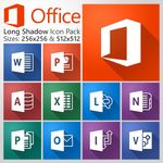 Microsoft Office 2013 Long Shadow Icon Pack