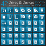 Drives and Devices Long Shadow Tiles