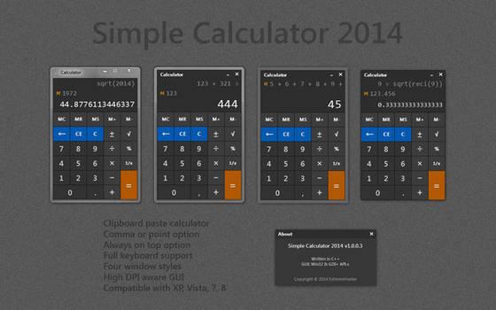 Simple Windows Calculator 2014 v1.0.0.3