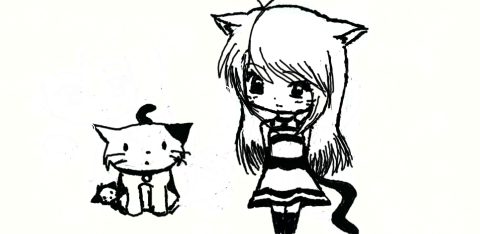 how to draw anime cats girl