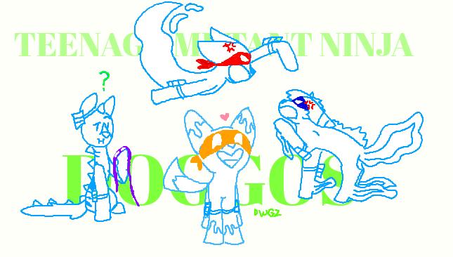 TeenageMutantNinjaDoggos [Sketch] by DragonWolfGirl2