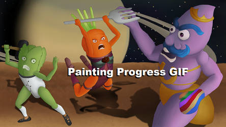 Painting Progress GIF: Superhero Salad Spacewars by mirinrenshuu
