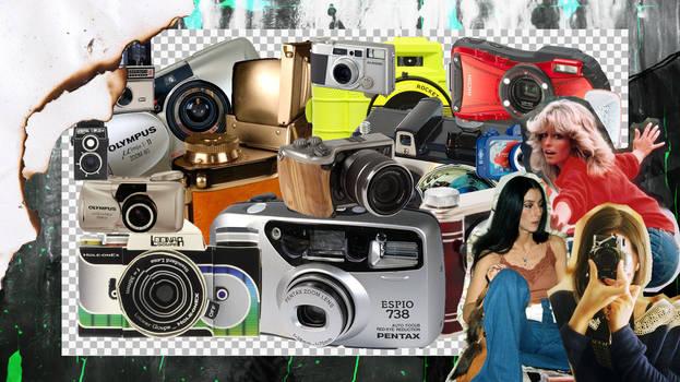 FILM, COMPACT, DSLR CAMERA PNGS PACK.