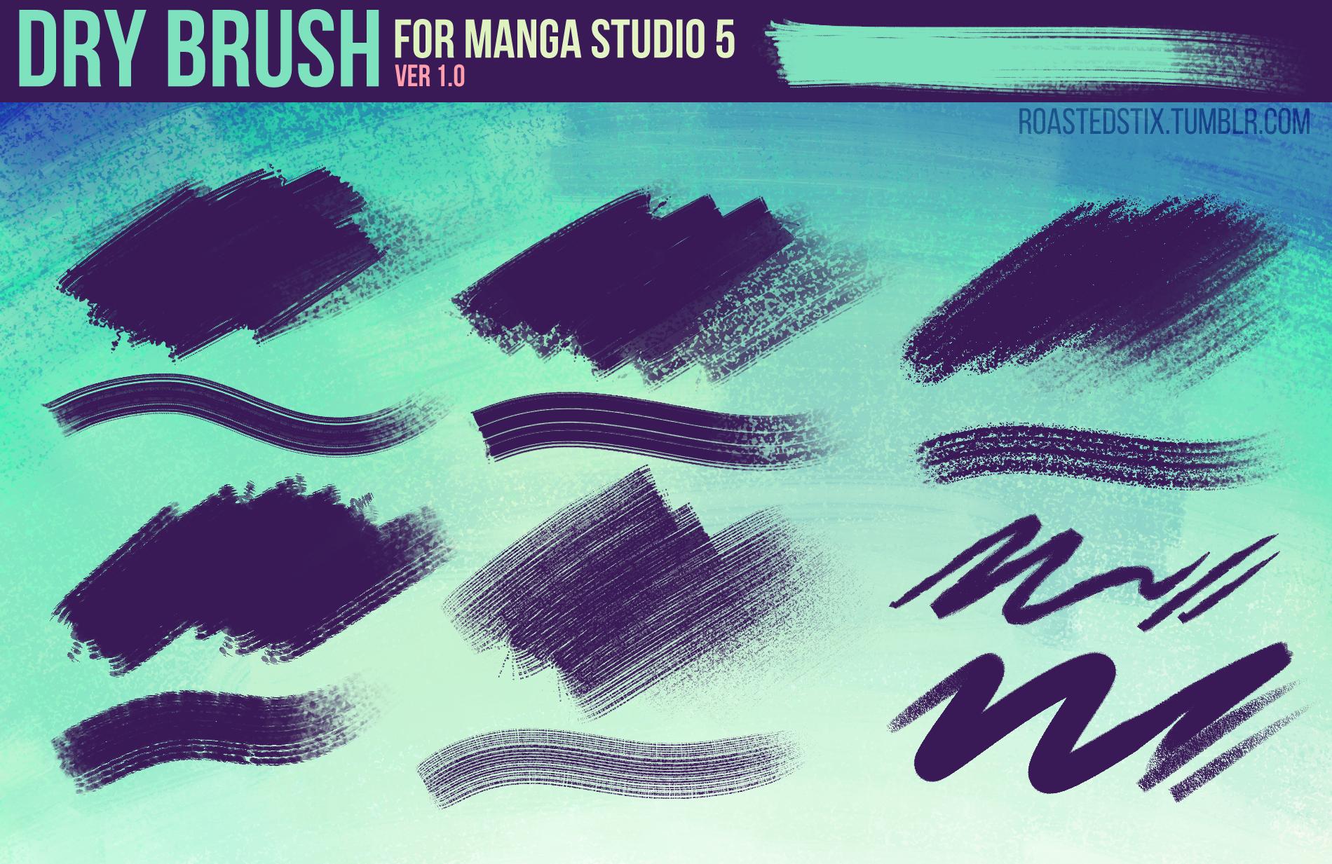 Dry Brush Pack for Manga Studio 5 (Ver. 1) by RoastedStix