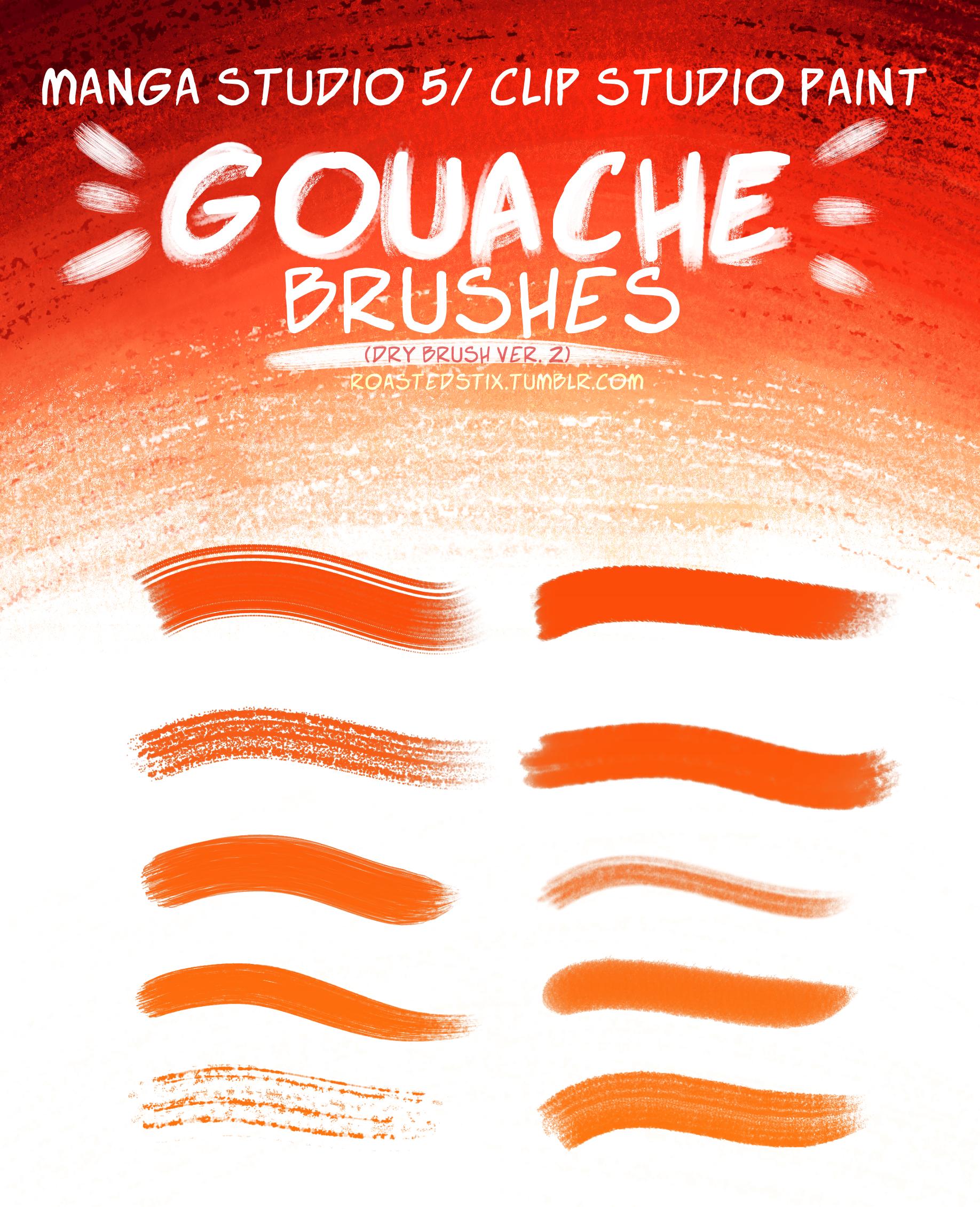 Gouache Brush Set for Manga Studio (Dry Brysh v.2) by RoastedStix