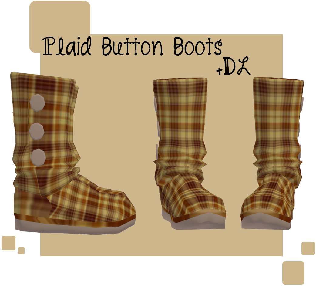 MMD - Plaid Button Boots + DL by lexxxyy