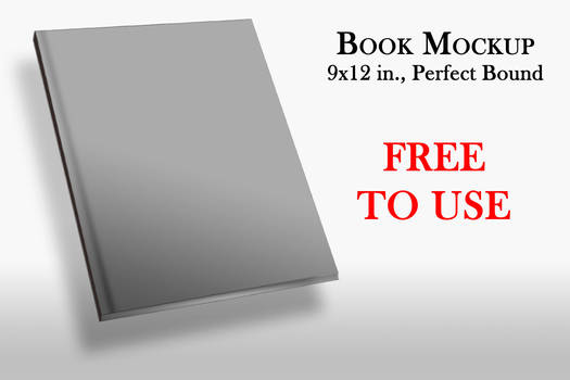 9x12 IN Angled Perfect Bound Book Cover Mockup