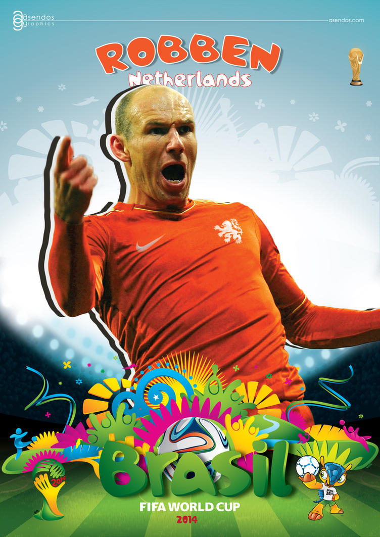 arjen robben world cup 2014 poster by asendos on deviantart. Black Bedroom Furniture Sets. Home Design Ideas