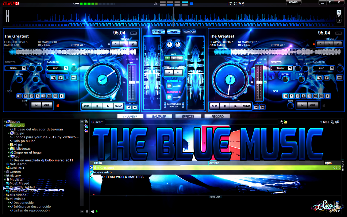 SKIN THE BLUE MUSIC FOR VIRTUAL DJ By SOWER96 Sower96