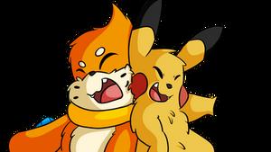 Buizel and Pikachu Face Smoosh Animation