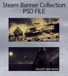 Steam Banner Collection - PSD File by MindWav3