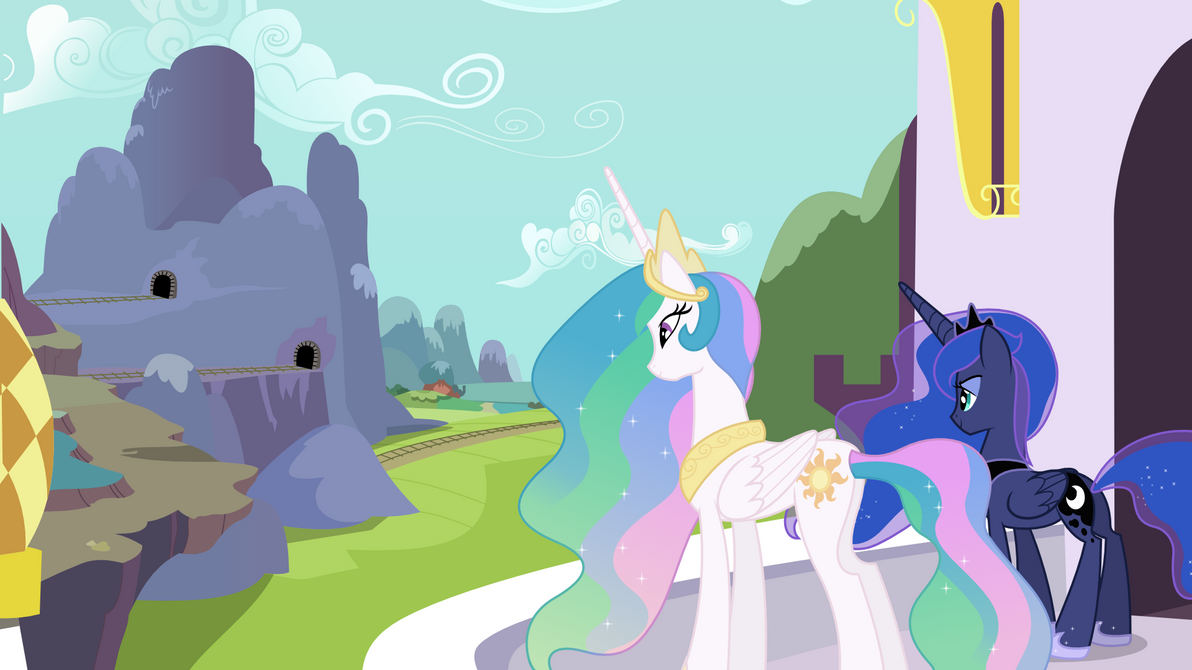 Celestia and Luna Overlooking (Wallpaper Versions) by 90Sigma