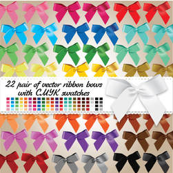 22 pair of vector ribbon bows