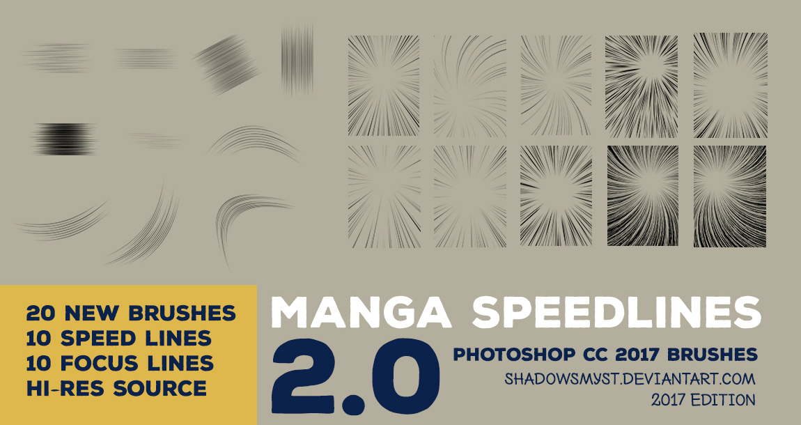 Manga Speedline 2.0 Photoshop Brushes by shadowsmyst