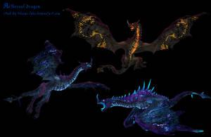 Aethereal dragons mmd xps png by Tokami-Fuko