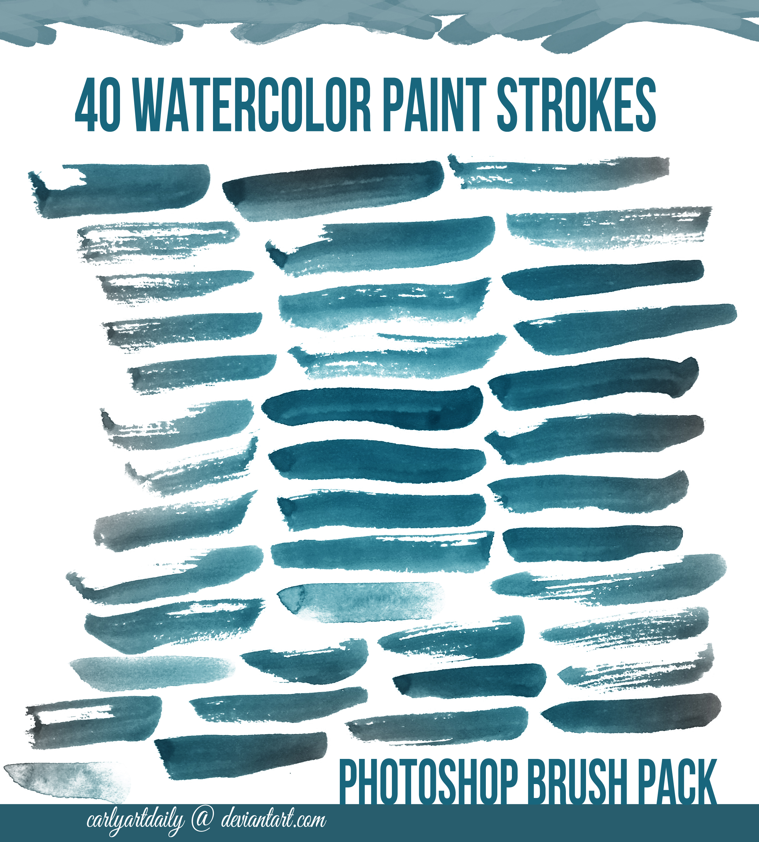40 Watercolor Brushes by carlyartdaily