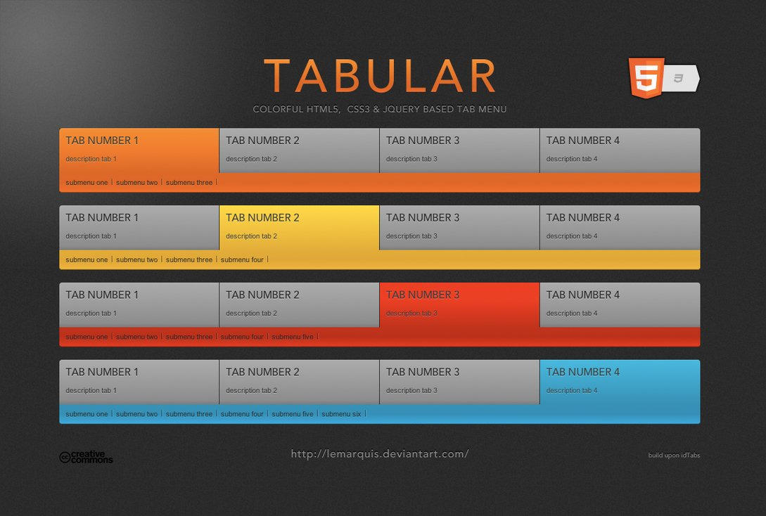Tabular Menu by LeMarquis