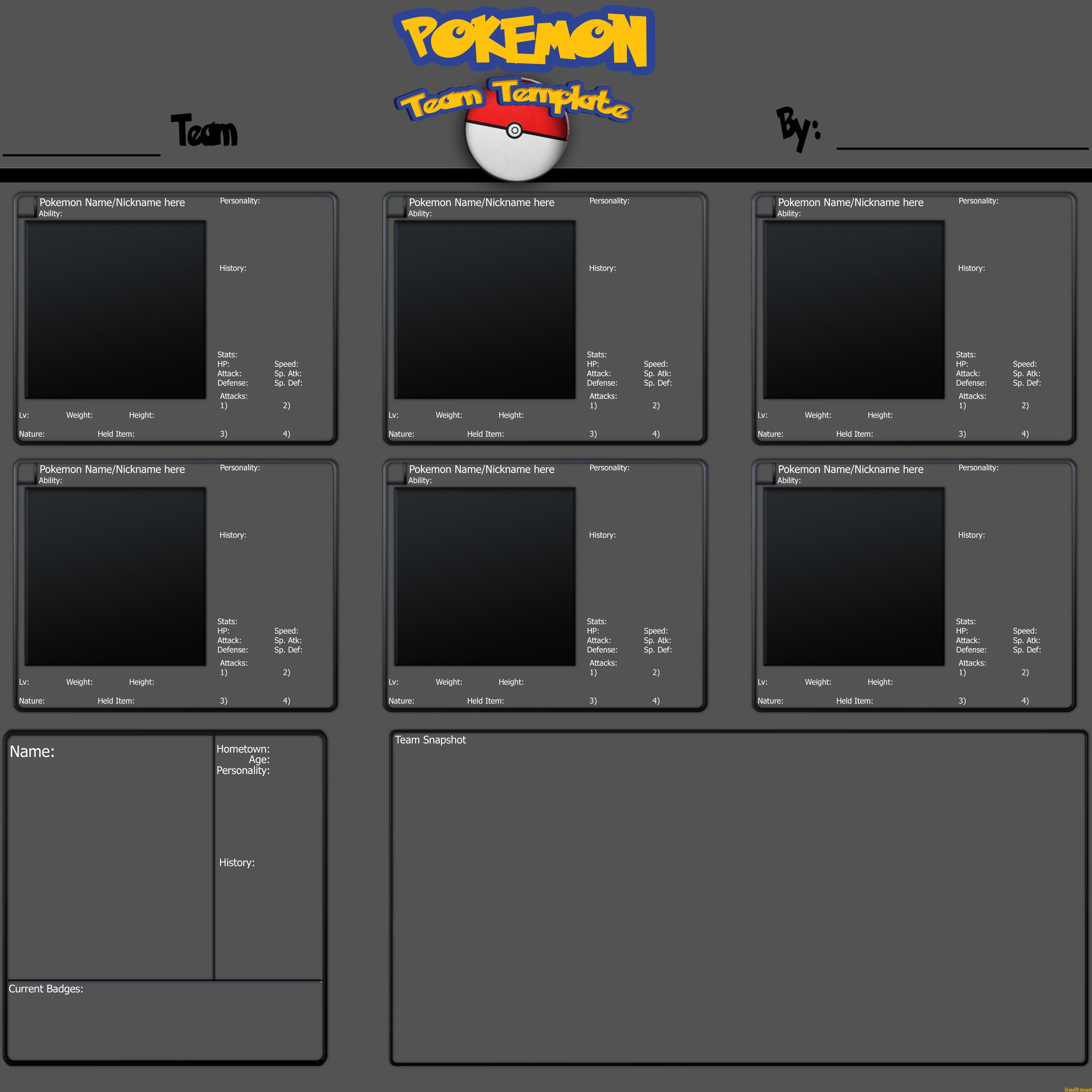Custom Pokemon Team Template