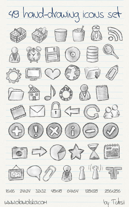 49 hand-drawing icons set