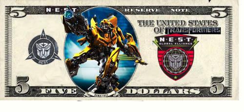 NEST MONEY five dollar bill by Baconette