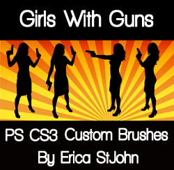 Girls With Guns PS CS3 Brushes by estjohn