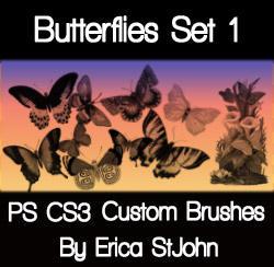 Butterflies Set 1 PS Brushes by estjohn