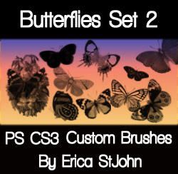 Butterflies Set 2 PS Brushes by estjohn