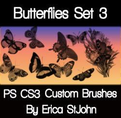 Butterflies Set 3 PS Brushes by estjohn