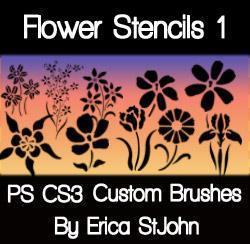 Flower Stencil Set1 PS Brushes by estjohn