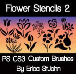 Flower Stencil Set2 PS Brushes by estjohn