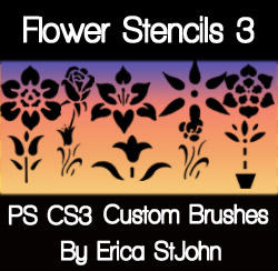 Flower Stencil Set3 PS Brushes by estjohn