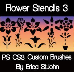 Flower Stencil Set3 PS Brushes by estjohn