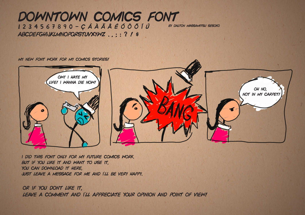 Downtown Comics font work by massamitsu