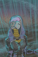 Tali in the rain WIP by fakefrogs