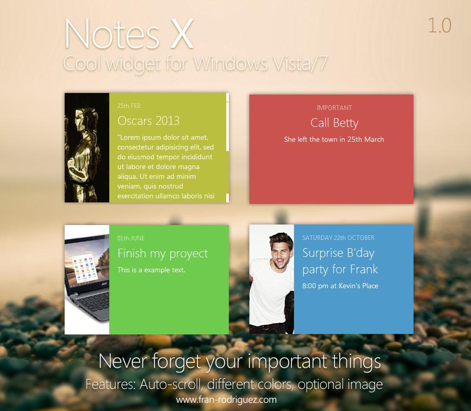 NotesX 1.0 - Windows sidebar gadget for Vista / 7