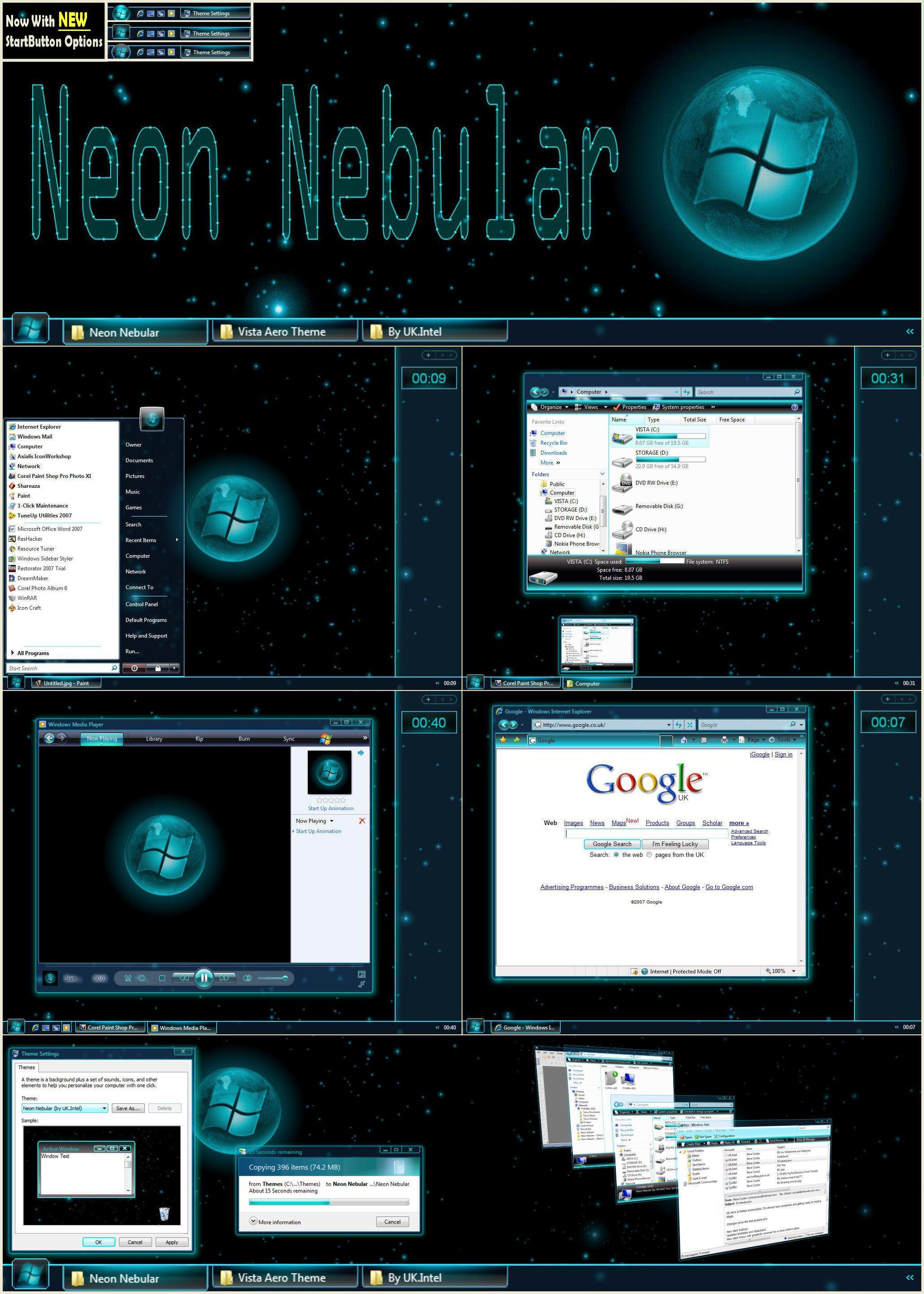 Google uk themes -  Neon Nebular 32bit Vista Theme By Ukintel