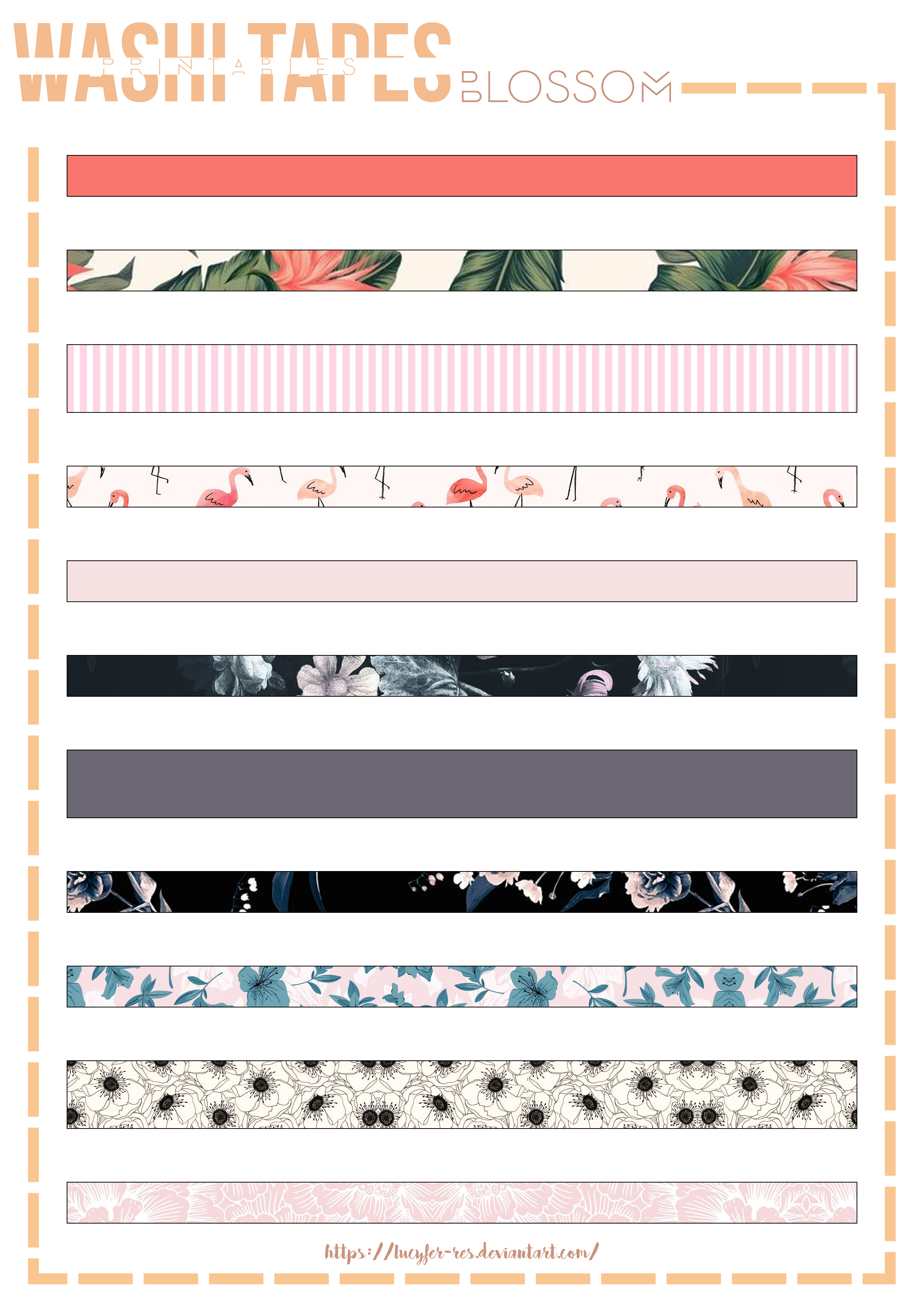 Blossom Printable Washi Tapes By Lucyfer Res On Deviantart