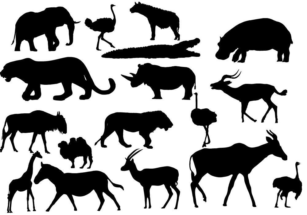 African animals silhouettes free vector download (11,194 ...