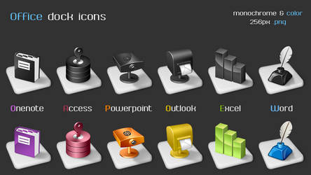 Office dock icons by arrioch