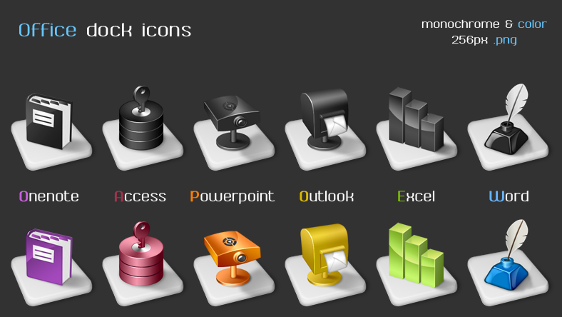 Office dock icons by arrioch