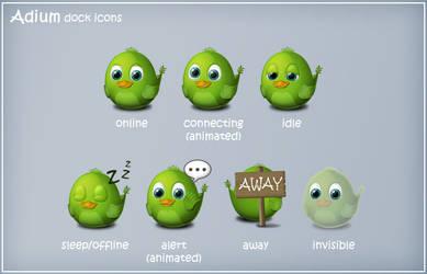 Birdie Adium Dock Icons by arrioch