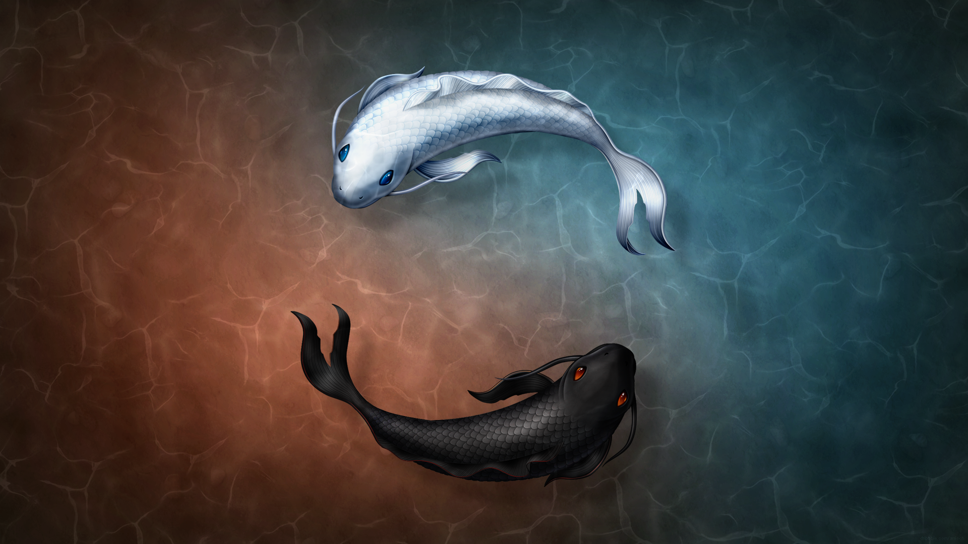 Image gallery koi art wallpaper for Koi fish wallpaper for walls