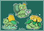 Bulbasaur family chibis - Shiny Ver. - Pokemon
