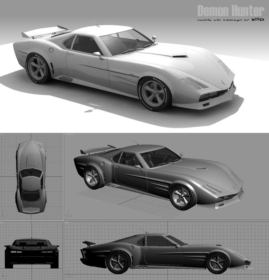 Muscle Car Model 3d - .OBJ DOWNLOAD - FREE DH_1_muscle_car_concept_by_xiiid