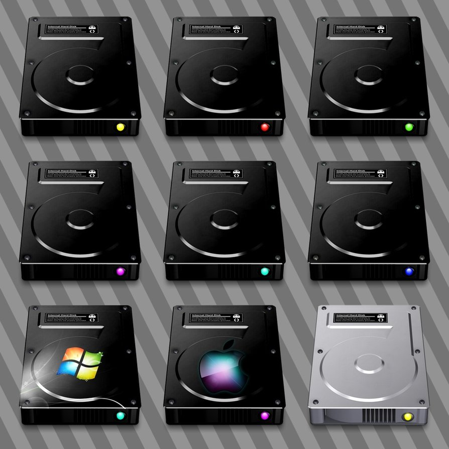 Dark Hard Drive Icons