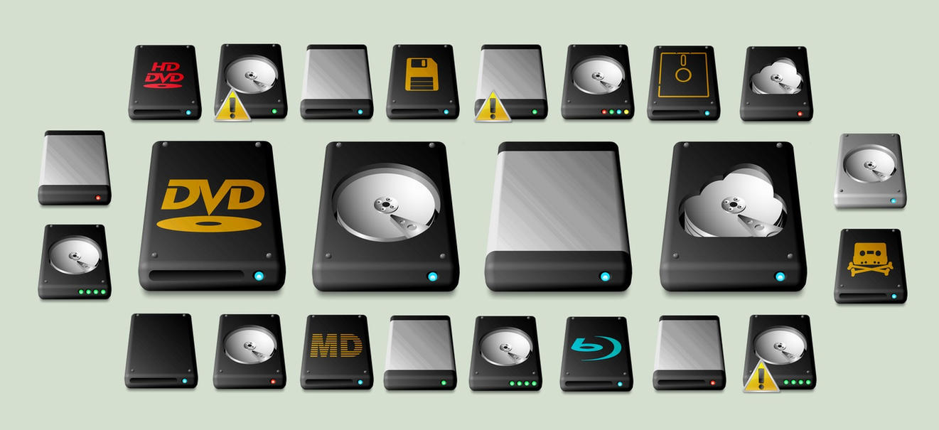 New Windows Drive Icons by JollyGreenJustin