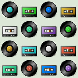 12 inch discs and tape cassette icons (Mac)
