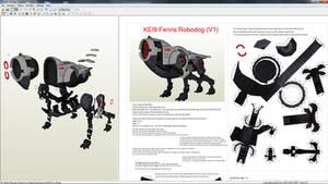 papercraft mass effect kei9 fenris robodog mech