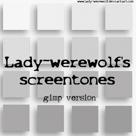 Screentones for Gimp 2.6.7 by Lady-Werewolf
